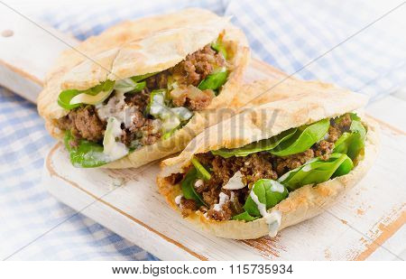 Pita Bread With Meat And Fresh Vegetables.