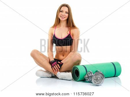 Beautiful Sport Woman With Dumbbells And Mat For Fitness Isolated On White