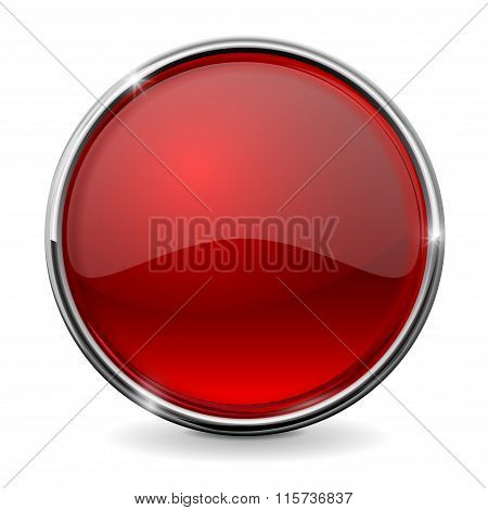 Glass Round Button, Red Web Icon With Chrome Frame.