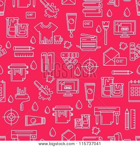 Vector Seamless Magenta Pattern With White Outline Printing Symbols And Icons. Abstract Background.