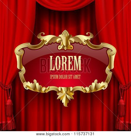 Suspended decorative gold gold baroque frame on the red curtain background. Square presentation artistic poster and placard. Vector illustration