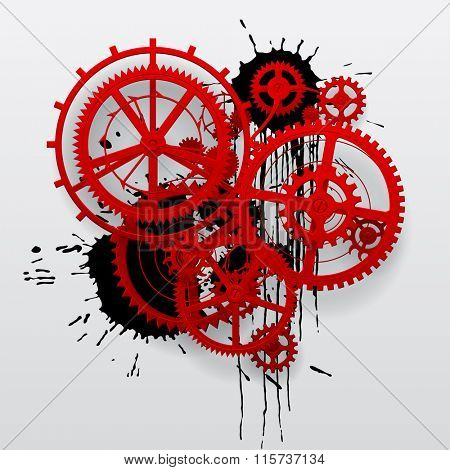 Red gear wheels of clockwork with black blots on white surface. Techno background. Vector Illustration