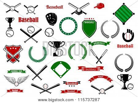 Baseball game sport items and designelements
