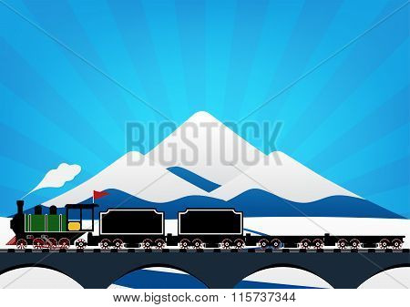 Vintage Steam Engine Locomotive Train Truck Moving Down Railroad Track On River Bridge And On Ice Mo