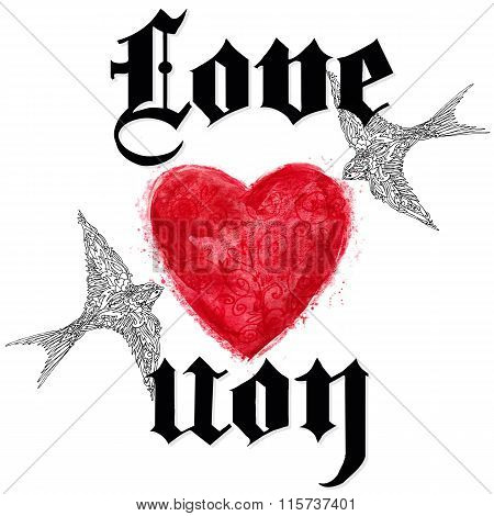 Valentines day card. love you greeting card. Valentine day hand drawing Gothic text background. Wate
