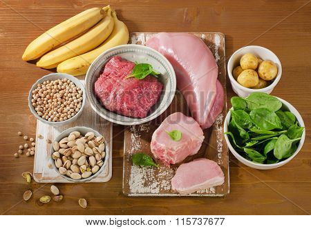 Foods Highest In Vitamin B6 On A Wooden Board.