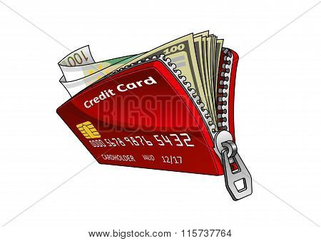 Credit card with dollar and euro bills inside