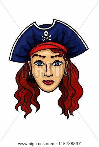 Cartoon pirate woman in hat with Jolly Roger