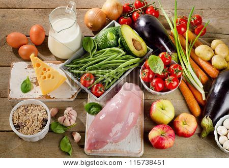 Balanced Diet, Cooking And Organic Food Concept On Rustic Wooden Table.