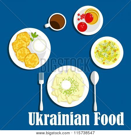 Fresh ukrainian cuisine vegetables and drink