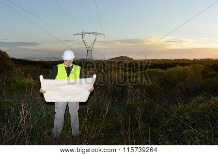 Electrical Engineer Controls The Power Line.
