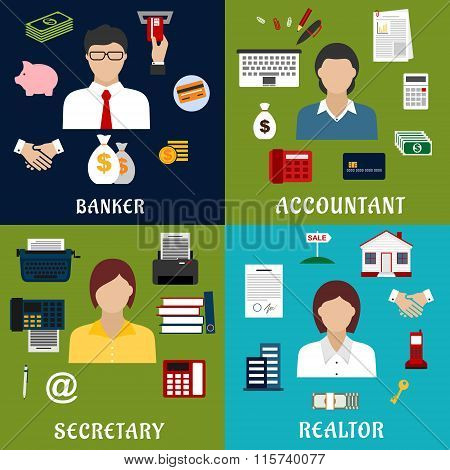 Banker, accountant, secretary and realtor icons