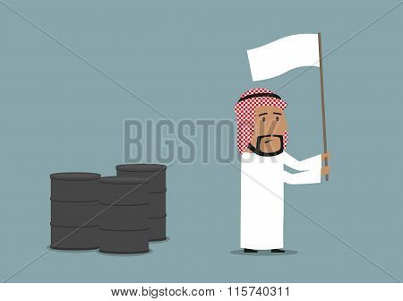 Arabian businessman capitulating with white flag