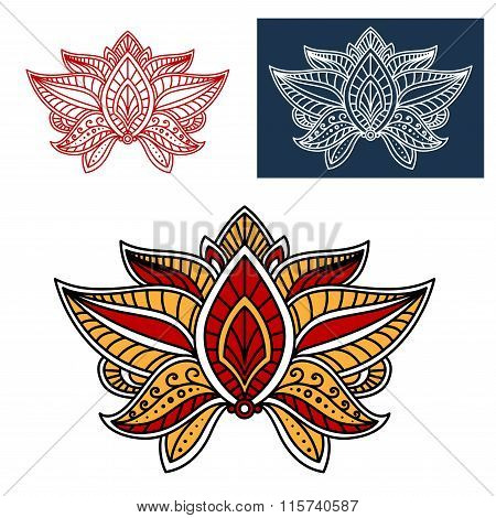 Oriental paisley flower with indian ethnic motif