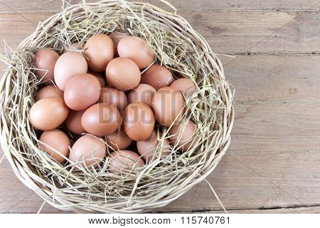 Eggs In A Rattan Basket