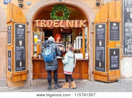 Prague. Shop Selling Czech bun.