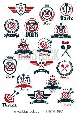 Sport darts game symbols and icons