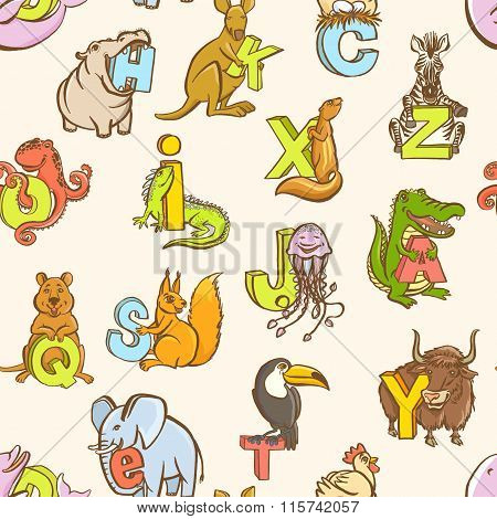 Funny zoo animals kid's alphabet seamless pattern. Hand drawn in