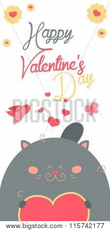 Happy Valentines Day invitation with cute Cat