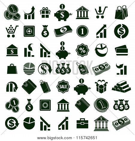 Money Icons Isolated On White Background Vector Set, Finance Theme Simplistic Symbols Vector