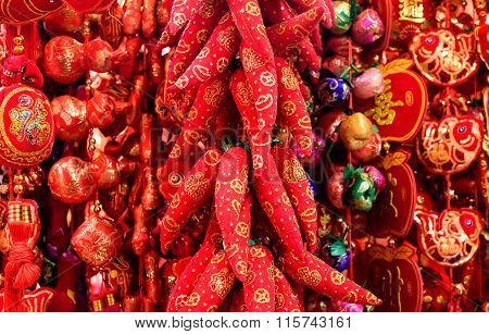 Red hot Chinese lucky peppers