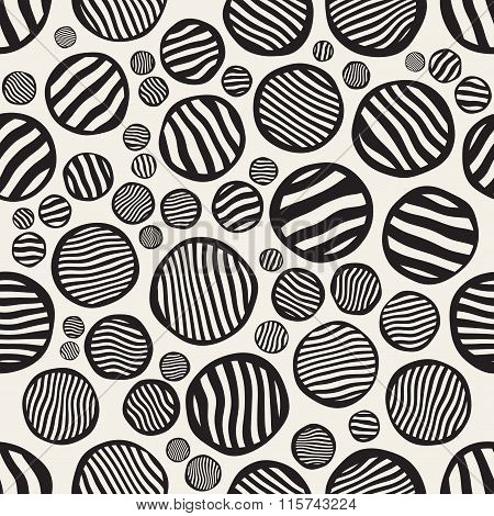 Vector Seamless Black And White Stripes Circles Jumble Hand Painted Pattern