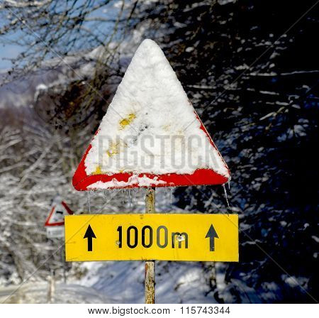 Traffic Sign Covered With Frozen Snow