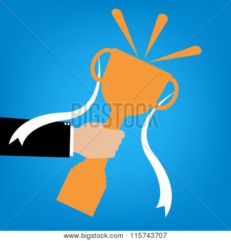 Businessman Hand Holding A Winner's Trophy Champion On Blue Background. Vector Illustration Business