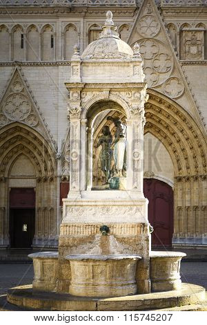 Statue At The Entry Of Saint Jean Cathedral, Lyon, France