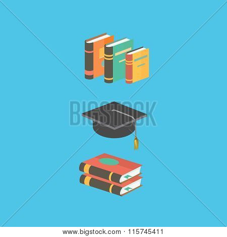Education and knowledge concept. book , mortarboard. Flat style isometric 3d illustration isolated o