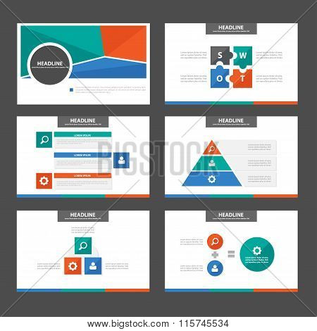 Blue Green presentation templates flat design set