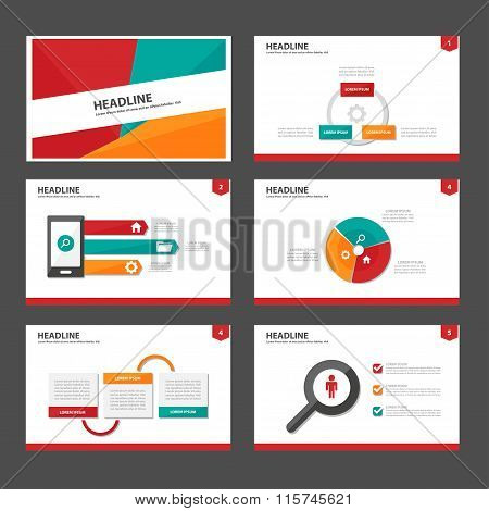 Red green orange presentation templates Infographic elements flat design set