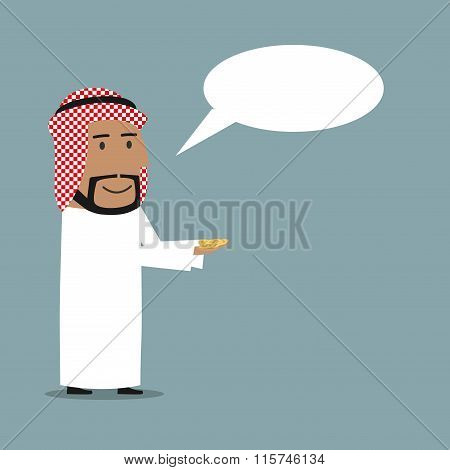 Arabian businessman with money and speech bubble
