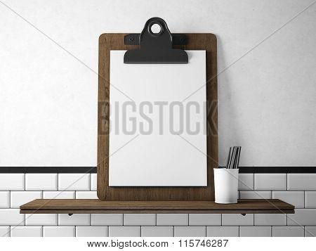 Set of blank white tablet on the wood bookshelf. 3d render