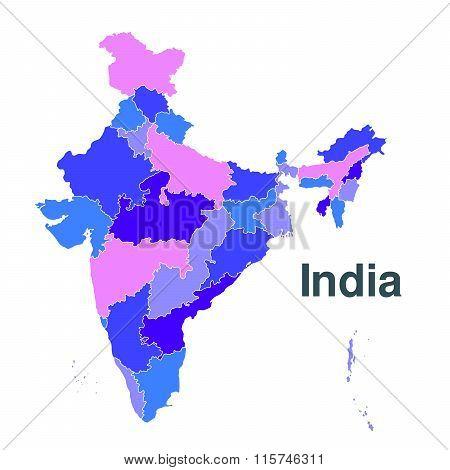 Regions Map Of India. Republic Of India Map