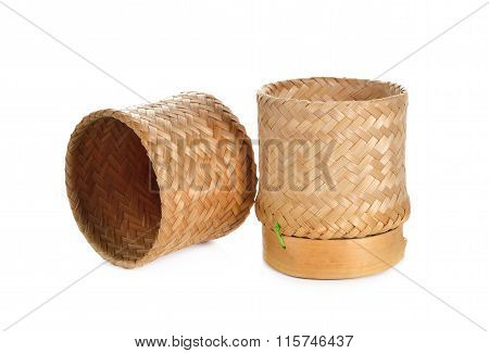 Sticky Rice Bamboo Basket Container On White Background