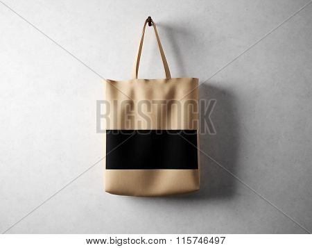 Brown cotton textile bag with black line in center holding, neutral background. Horizontal, 3d rende