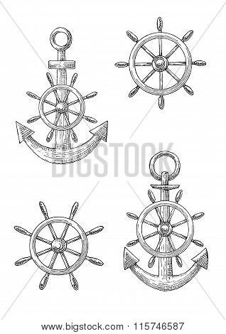 Vintage nautical anchors and helms sketches