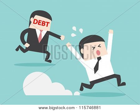 Debt Hunting Grabbing Businessman Money