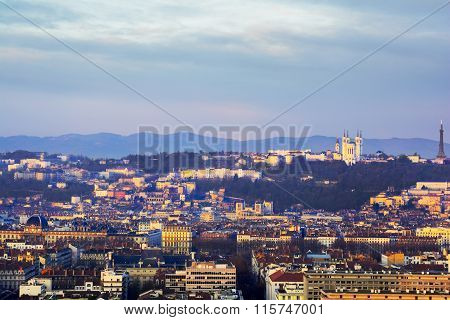 Rooftop Of Lyon With The Basilica Of Fourviere, France