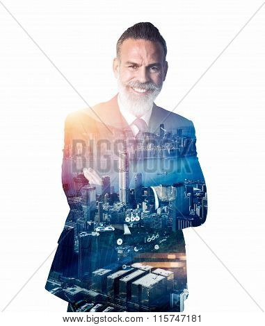 Portrait of bearded businessman smiling. Double exposure city on the background.