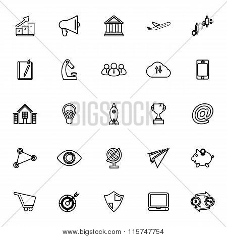 Startup Business Line Icons On White Background