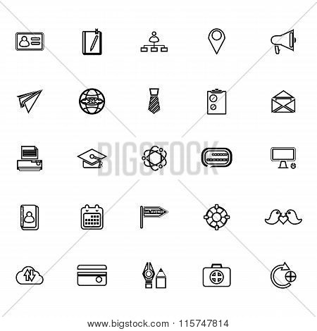 Contact Connection Line Icons On White Background