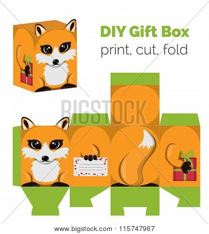 Adorable Do It Yourself fox gift box with ears for sweets, candies, small presents. Printable color