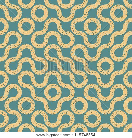 Vector Seamless Wavy Geometric Lines Irregular Retro Grungy Blue Tan Pattern