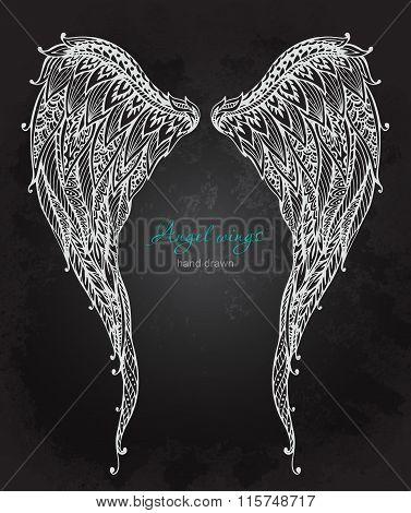 Vetor Hand Drawn Ornate Angel Wings, Zentangle Style