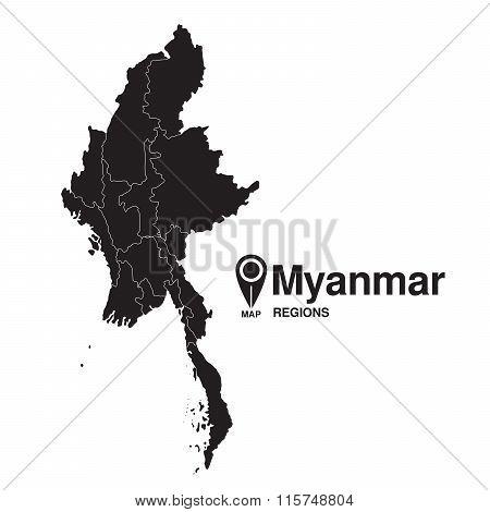 Regions Map Of Myanmar