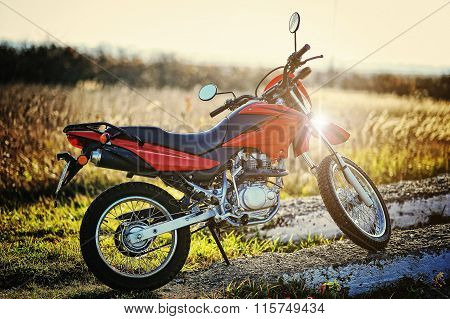 Enduro Motorcycle Stay On Sunset Sunshine