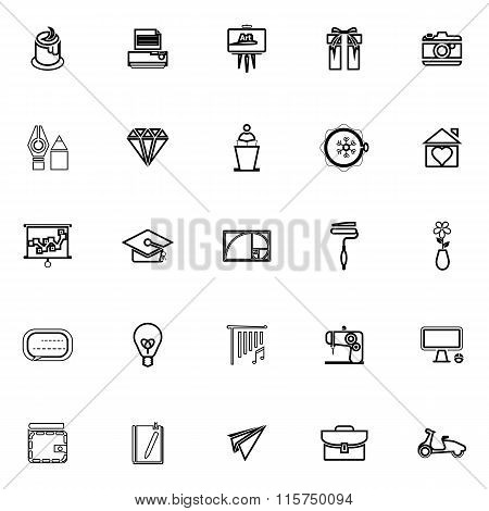 Art And Creation Line Icons On White Background