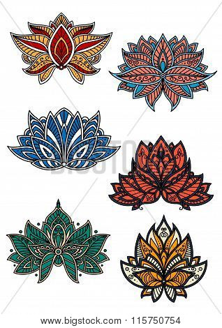 Colorful flowers with oriental paisley motifs